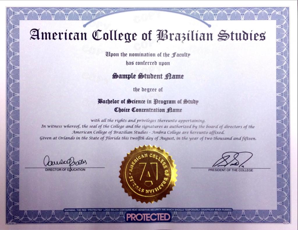 Modelo de diploma da Ambra College